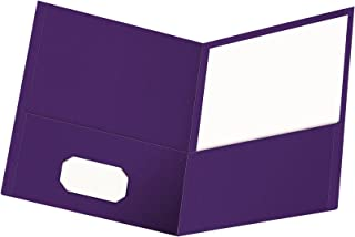 Oxford Twin-Pocket Folders, Textured Paper, Letter Size, Purple, Holds 100 Sheets, Box of 25 (57514EE)