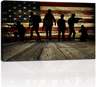 Wooden Flag Wall Art and Soldiers Pictures for Living Room Canvas Print Vintage American Flag Modern Art Painting Framed Posters and Prints Giclee Print Artwork(24inchx36inch, ZLPZJ-Flag 1)