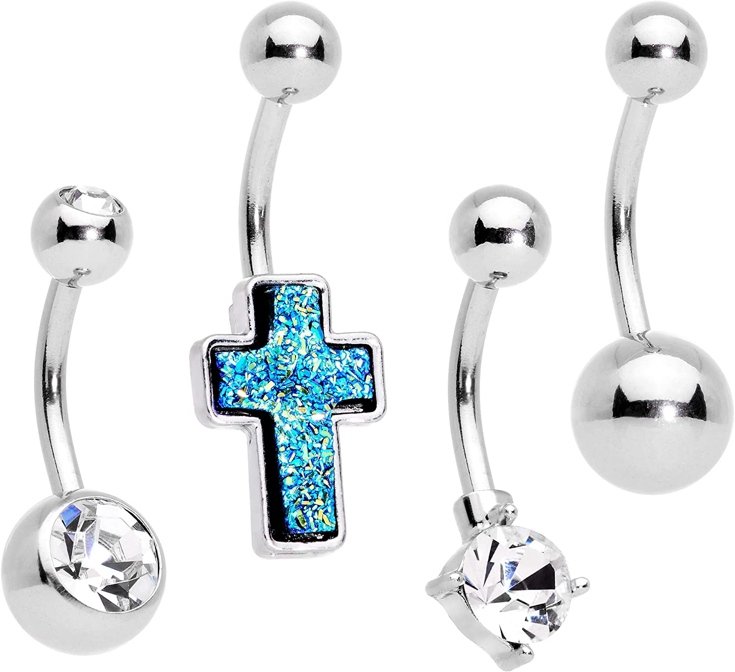 Body Candy 4PC 14G Steel Clear Accent Faceted Blue Cross Bonus Pack Belly Button Rings Navel Piercing