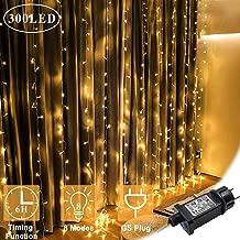 Luces de Cortina LED, OMGAI 300 LEDs, 36V 6W, 3m x 3m Luz de Cortina Con 8 Modos para Navidad, Año Nuevo, Fiesta, Boda, Decoración del Hogar, Blanco cálido