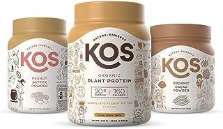 KOS Peanut Butter Cup Bundle (Plant-Based Chocolate Peanut Butter Protein Powder + Organic Peanut Butter Powder + Organic ...