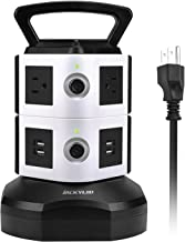 Power Strip Tower JACKYLED Surge Protector Electric Charging Station 3000W 13A 6 AC Outlets 4 USB Ports with 16AWG 6.5ft Heavy Duty Extension Cord Universal for Home Office