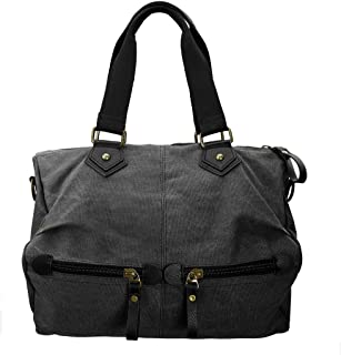 BMC Womens Durable Canvas Material Double Top Handle Large Satchel Handbag