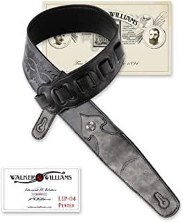 Walker & Williams LIP-04 Metallic Black Leather Strap with Cross and Thorns Tooling