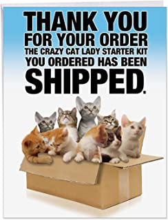 Cat Lady Starter Kit - Hilarious Happy Birthday Card with Envelope (Big 8.5 x 11 Inch) - Cute Pet Kittens in Delivery Box, Funny Animal Bday Notecard - Congrats Stationery for Kids, Adults J8016