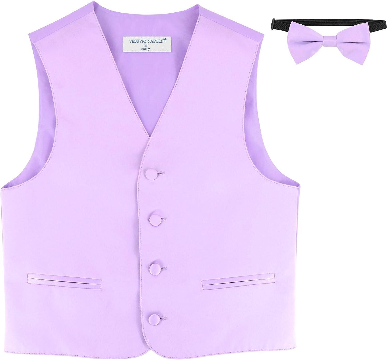 BOY'S Dress Vest & BOW Tie Solid Lavender Purple Color BowTie Set