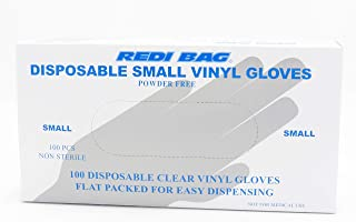 Redi Bag, Disposable Vinyl Gloves, Latex-Free, Powder-Free, 100 Count (Small)