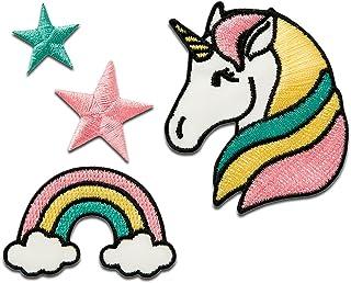 Set unicornio estrella arco iris – colorido – diferentes tamaños - Parches termoadhesivos bordados aplique para ropa