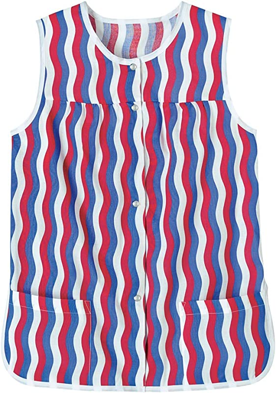 AmeriMark Easy Care Snap Front Cobbler Aprons Vest With Two Patch Pockets