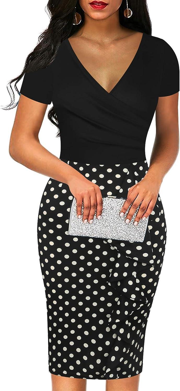 Sakaly Women's Vintage Short Sleeve V Neck Wrap Polka Dot Pencil Midi Dress SK300