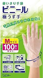 使いきり手袋 ビニール 極うす手 掃除用 使い捨て Mサイズ 半透明 100枚