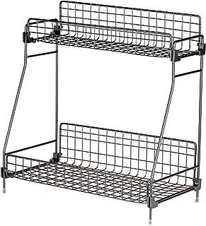 Adaskala 2-Tier Storage Holder & Rack Iron Net Basket Storage Shelf for Daily Necessities Condiments at Home Office