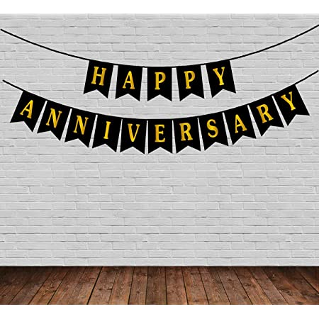 YNS CRAFTS STOCK Happy Anniversary Bunting Banner ( Black Banner )