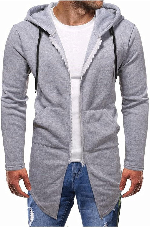 Long Hoodie for Men Lightweight Long Sleeve Open Front Sweatshir