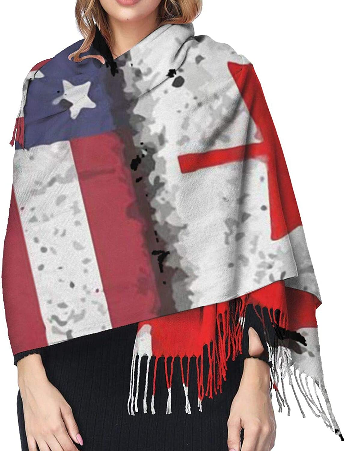 Canadian American Flag Cashmere Scarf Fashion Long Shawl with Fringed Edges Super Soft Warm Cozy Light Blanket Scarves Wrap Ultra Warm Winter Accessories Gifts For Men And Women