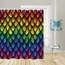 JAWO Rainbow Shower Curtain for Bathroom,Colorful Fish Wild Animal Dragon Scales Bathroom Accessories with 12 Hooks, Durable Waterproof Fabric Bath Curtain Set for Bathroom