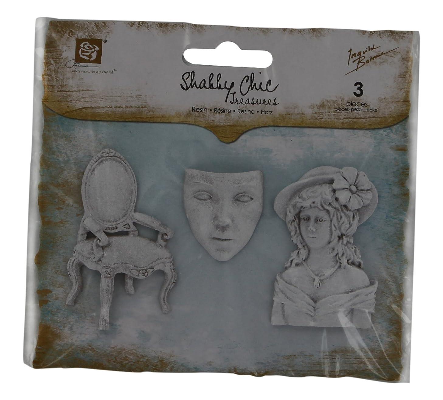 Prima Marketing Shabby Chic Resin Treasures-Allure 3/Pkg 1.25