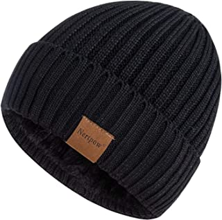 Nertpow Beanie Hat for Men and Women, Winter Warm Fleece Lined Thermal Trendy Thick Knit Skull Cable Cuff Cap (Stripe Black)