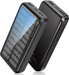 2021年新登場 ソーラーモバイルバッテリー 大容量 30000mAh ソーラーチャージャー 急速充電 残量表示 2つUSB出力ポート 2つ入力ポート MicroUSBとType-C ソーラー充電器 iPhone iPad Android Ni...