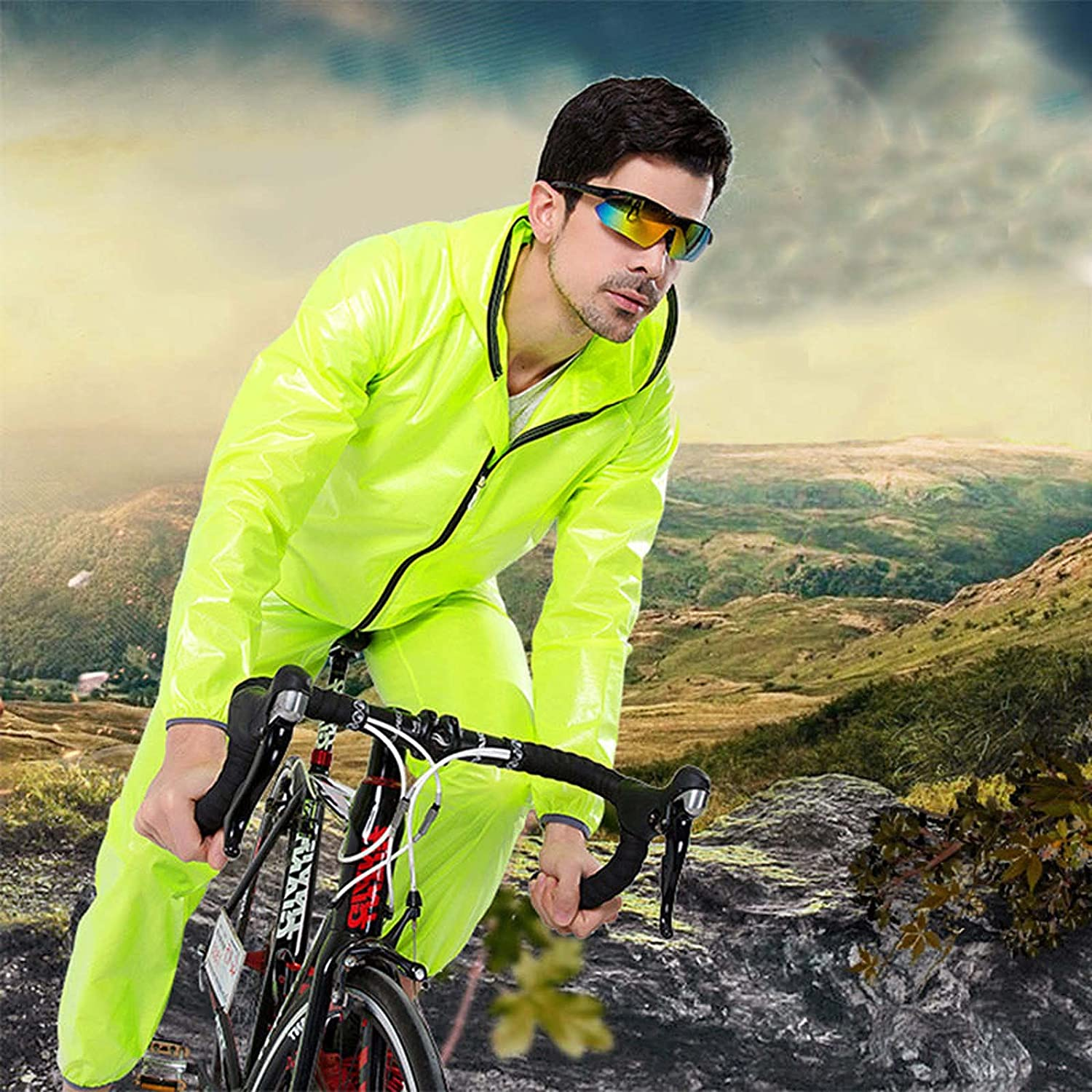 FHGH Men's Split Raincoat for Cycling, Portable Raincoat and Trousers Set, for Riding, Hiking and Traveling,D,Small