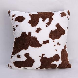 cygnus Brown and White Cow Print Throw Pillow Cover Faux Fur Soft Cowhide Pattern Farm Decor Cushion Cover 18x18 inch