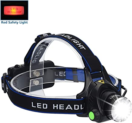 LED Headlamp Flashlight Kit, ANNAN 2000-Lumen Super Bright Headlight with Zoomable Head, Red Safety Light,4 Modes, Waterproof Light for Camping, Biking, 2 Rechargeable Lithium Batteries Included