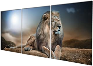 Gardenia Art - Animal World Series 24 Wild Lions Canvas Wall Art Paintings Animals Watercolor Pictures Artworks for Bedroom Living Room Decoration,12x16 inch/Piece, Framed, 3 Panels