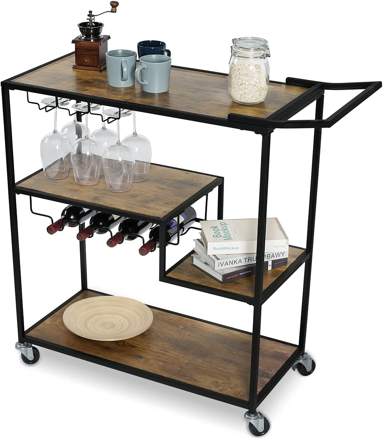 KATDANS Bar Serving Cart-Industrial Kitchen Cart with Wheels - Portable Rolling Serving Trolley - Bar Cart with Wine Rack for Home - 4 Tier Storage Shelves - Rustic Brown, KS015R
