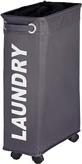 WENKO Panier à linge Corno - Corbeille à linge Capacité: 43 l, 18.5 x 60 x 40 cm, Gris foncé