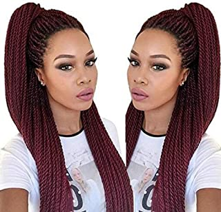 Geyashi Hair 18 Inch 6 Packs/Lot 2Tone Dark Roots Ombre 1B/Burg 2S Senegalese Twist Crochet Hair Braiding Hair Extensions Jumbo Braids Brading Hair for Black Women (T1B/Burgundy Red Wine Color)