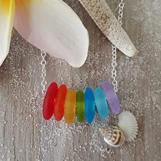 """product image for Hawaii is called""""Rainbow State"""", bring home some Hawaii Rainbow with this sea glass necklace, (Hawaii Gift Wrapped, Customizable Gift Message)"""