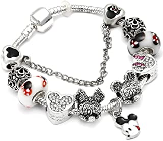 Ink White Silver Charms Bracelet Bangle for Women Crystal Flower Beads Bracelets Jewelry,Ae079,20Cm