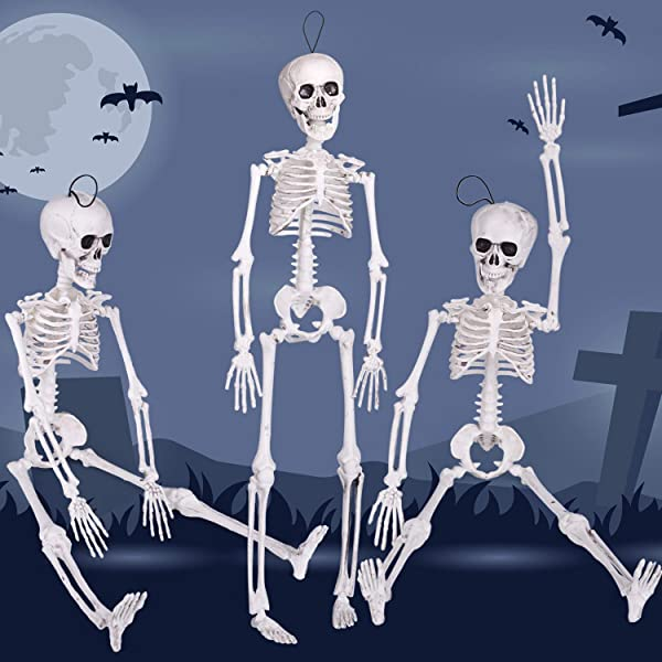 3PCs Halloween Skeleton 16 Inch With Movable Joints For Halloween Party Favors Halloween Decorations