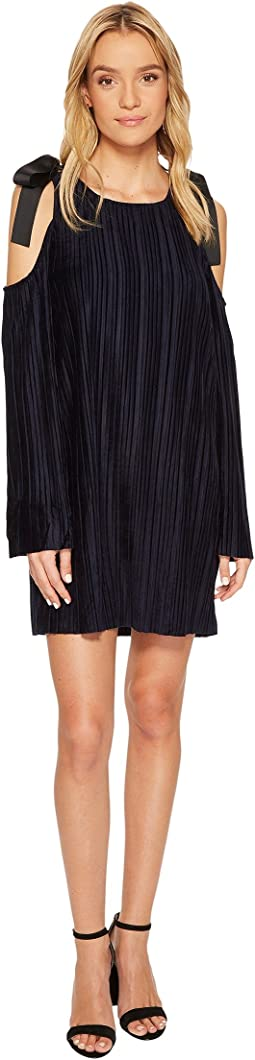J.O.A. - Tie Shoulder Cold Shoulder Pleated Dress
