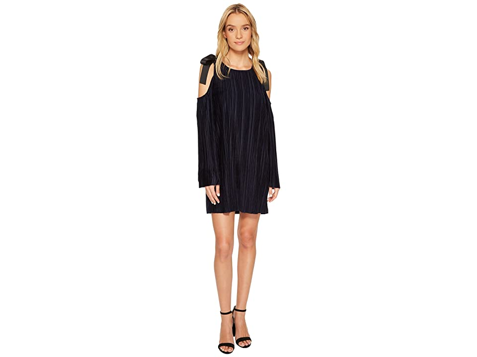 J.O.A. Tie Shoulder Cold Shoulder Pleated Dress (Navy) Women