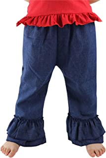 Wennikids Baby-Girls Denim Fancy Flare Pants Double Ruffles Pants 6m-8t