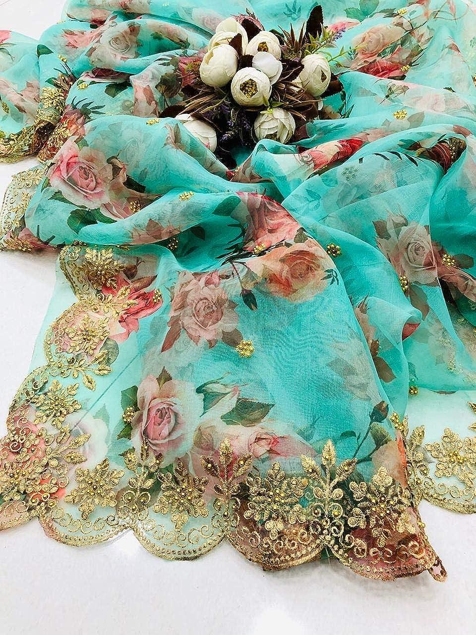 Sari doux pr/é-organza avec dentelle et bordure brod/ée.
