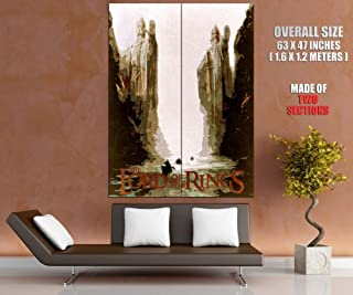 The Gates of Argonath Pillars of Kings Lord of the Rings Art Retro Vintage Painting 63x47 Huge Giant Poster Print