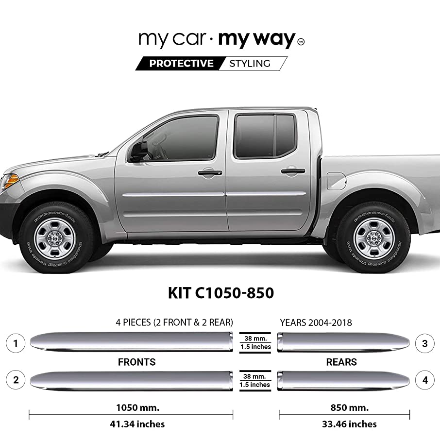 MY CAR MY WAY (Fits) Nissan Frontier 2004-2018 -6' Box-Crew-Cab Chrome Body Side Molding Cover Trim Door Protector