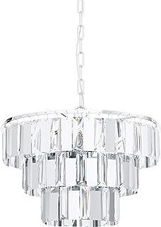EGLO Lámpara colgante Erseka, 5 focos, lámpara colgante moderna, elegante, de acero cromado y cristal transparente, lámpara de comedor, lámpara colgante con casquillo E14, diámetro 38,5 cm