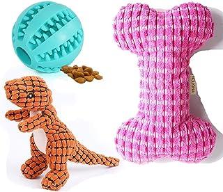 犬用おもちゃ 音が出る 恐龍 骨 スイカ 犬噛むおもちゃ ぬいぐるみ おやつボール 3点セット 歯ぎ清潔 小•中型犬 おもちゃ「Amazon倉庫より」