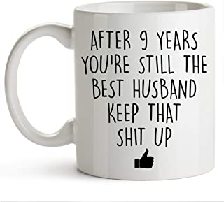 YouNique Designs 9 Year Anniversary Coffee Mug for Him, 11 Ounces, 9th Wedding Anniversary Cup For Husband, Nine Years, Ni...