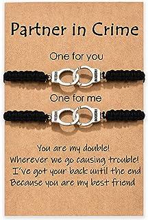 MANVEN Partners in Crime Bracelets Handcuff Matching Friendship Bracelet for Women Men Girls Boys Best Friend