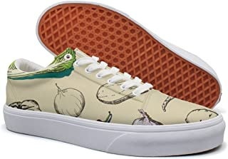 KKLDFD Vegetables Fruit Pictures Fresh Vegetables Canvas Low-top Skateboarding Shoes OfMens Cute White