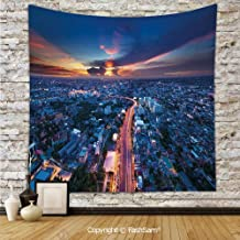 FashSam Tapestry Wall Blanket Wall Decor Bangkok Skyline at Sunset Evening Thailand Cityscape Metropolis Architectural Photo Home Decorations for Bedroom(W59xL78)