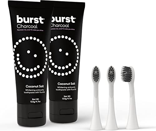 wholesale BURST high quality Charcoal Toothpaste outlet online sale for Teeth Whitening with BURST Replacement Electric Toothbrush Heads, Black [Packaging May Vary] outlet online sale