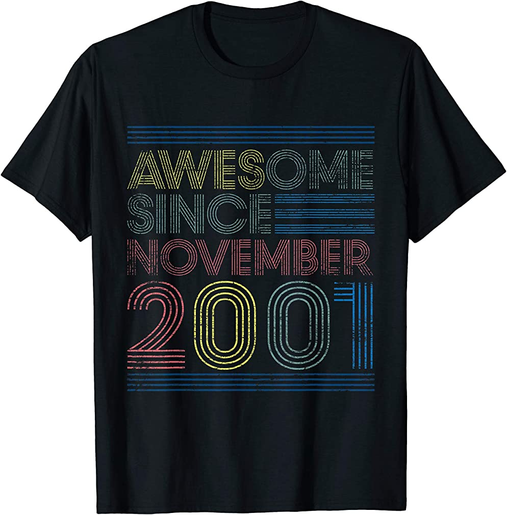 Awesome Since November 2001 Bday Gifts 19th Birthday T-shirt