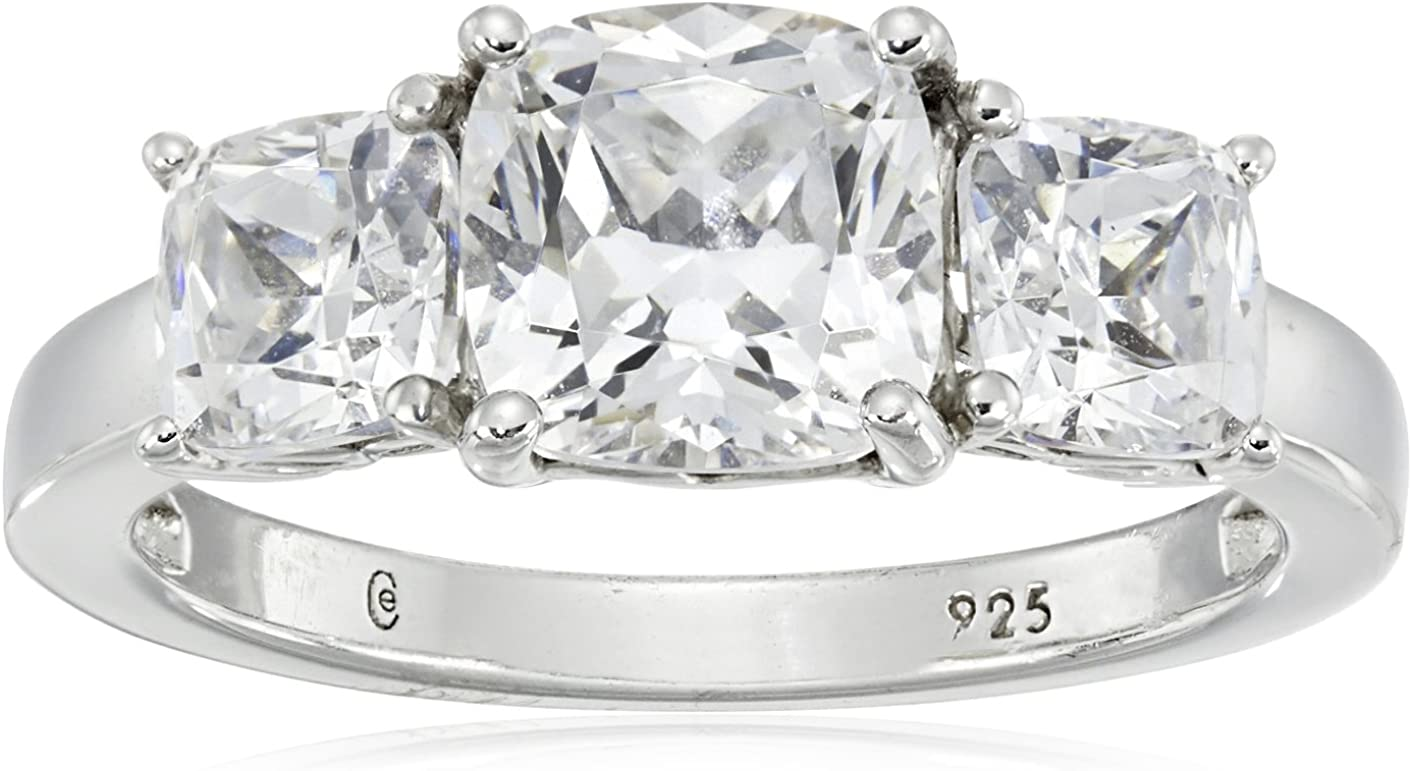 San Francisco cheap Mall Platinum or Gold Plated Sterling Silver m Fancy 3-Stone Ring Cut