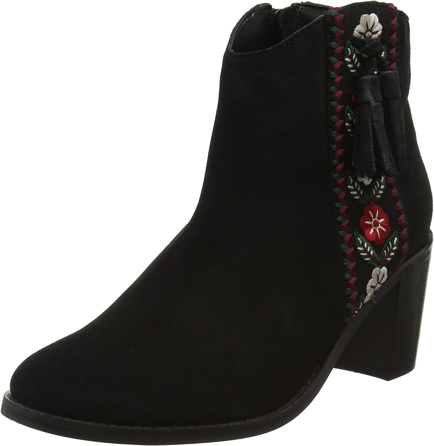 Joe Browns Womens Heeled Western Style Suede Ankle Boot with Side Tassel and Embroided Detail Black