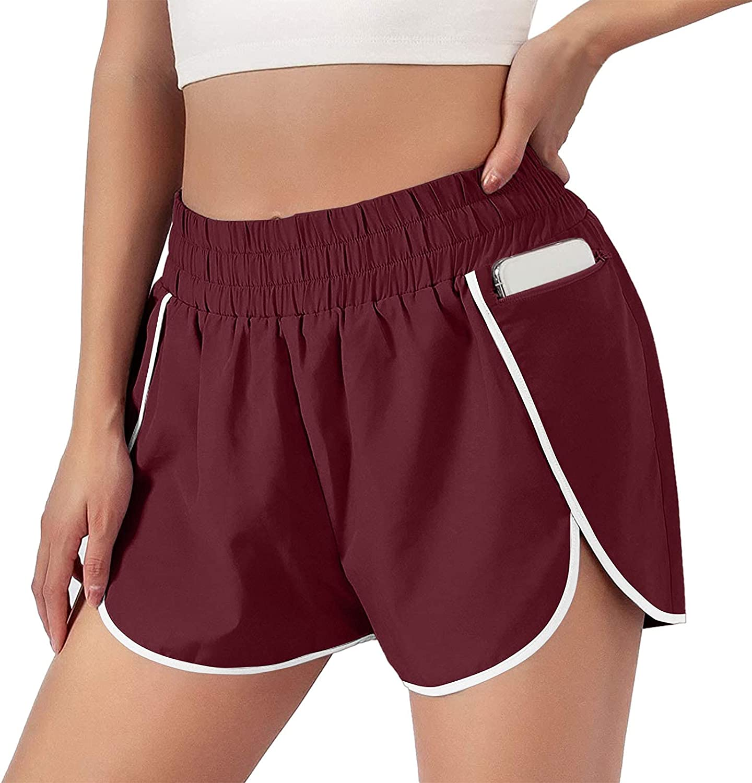 COMVALUE Womens Shorts for Summer, Women's Soild Active Running Workout Shorts Comfy Casual Drawstring Elastic Waist Shorts